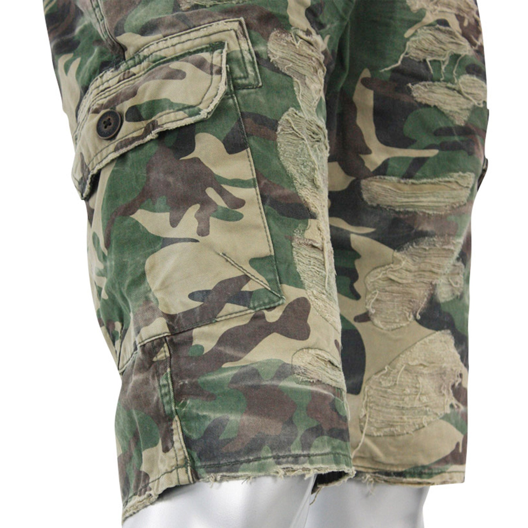 bfab49719bab ... the camouflage distressed cargo shorts have side pockets
