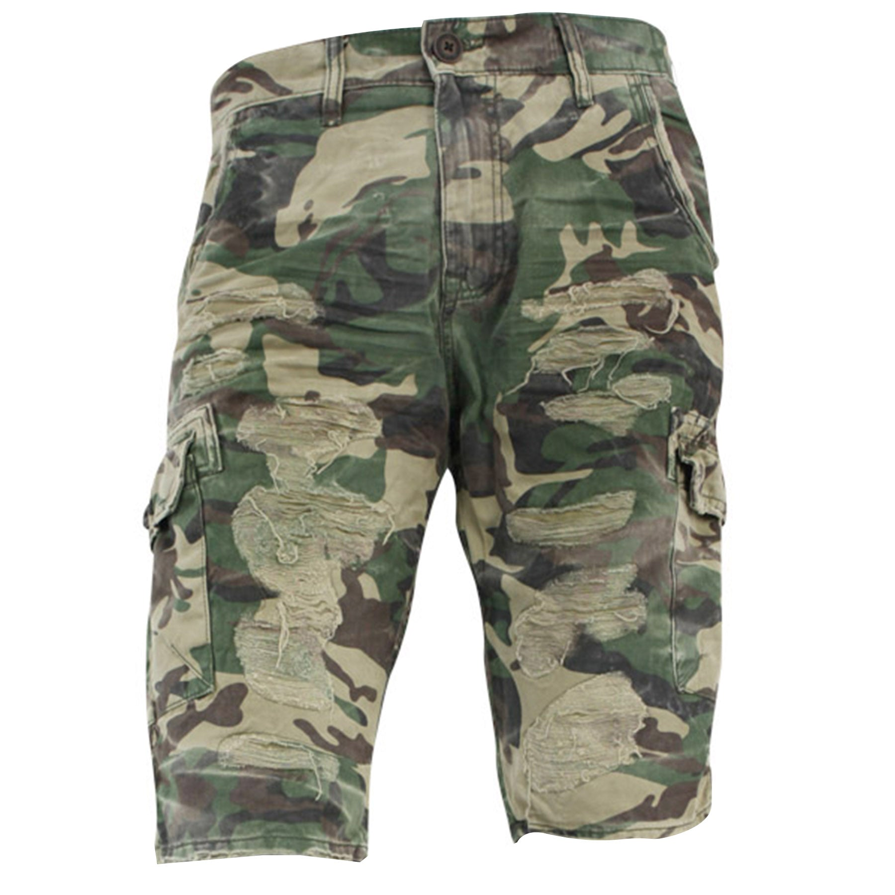 c9bf1f438b71 the camouflage distressed cargo shorts are camouflage with rips and tears  on the front