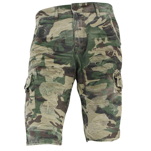 the camouflage distressed cargo shorts are camouflage with rips and tears on the front