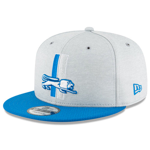 Embroidered on the front of the 2018 on field detroit lions vintage 9fifty snapback hat is the throwback detroit lions logo