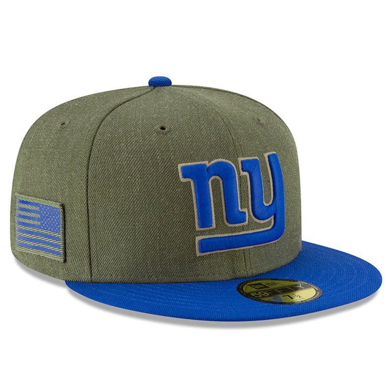 on the right side of the 2018 new york giants salute to service fitted cap is the usa flag patch in military green and blue