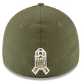The back of the Philadelphia Eagles stretch fit on field flex hat is the NFL Salute to Service Veterans Ribbon