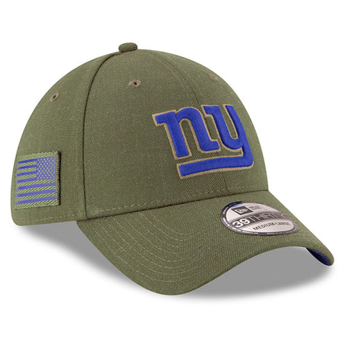 On the front of the New York Giants 2018 Salute to Service On Field Stretch Fit Cap is the NY Giants logo in blue and military green