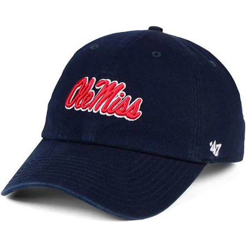 embroidered on the front of the university of mississippi ole miss rebels dad hat is the ole miss lettering embroidered in red and white