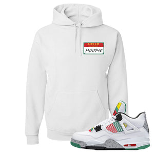 Jordan 4 WMNS Carnival Sneaker White Pullover Hoodie | Hoodie to match Do The Right Thing 4s | Hello My Name Is Mookie