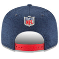 The back of the New England Patriots adjustable retro throwback onfield sideline snapback hat has a red adjustable snap