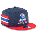 The right side of the retro New England Patriots On Field snapback hat has red, white, and blue stripes similar to the New England Patriots throwback uniforms
