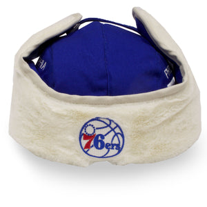 front of 76ers Trapper hat | Philadelphia 76er Blue cream ushanka aviator retro royal and cream trapper hat