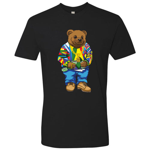 on the front of the biggie smalls coogi sweater polo bear inspired black t-shirt is a bear wearing a coogi sweater, gold jesus piece, jeans and wheat timbs