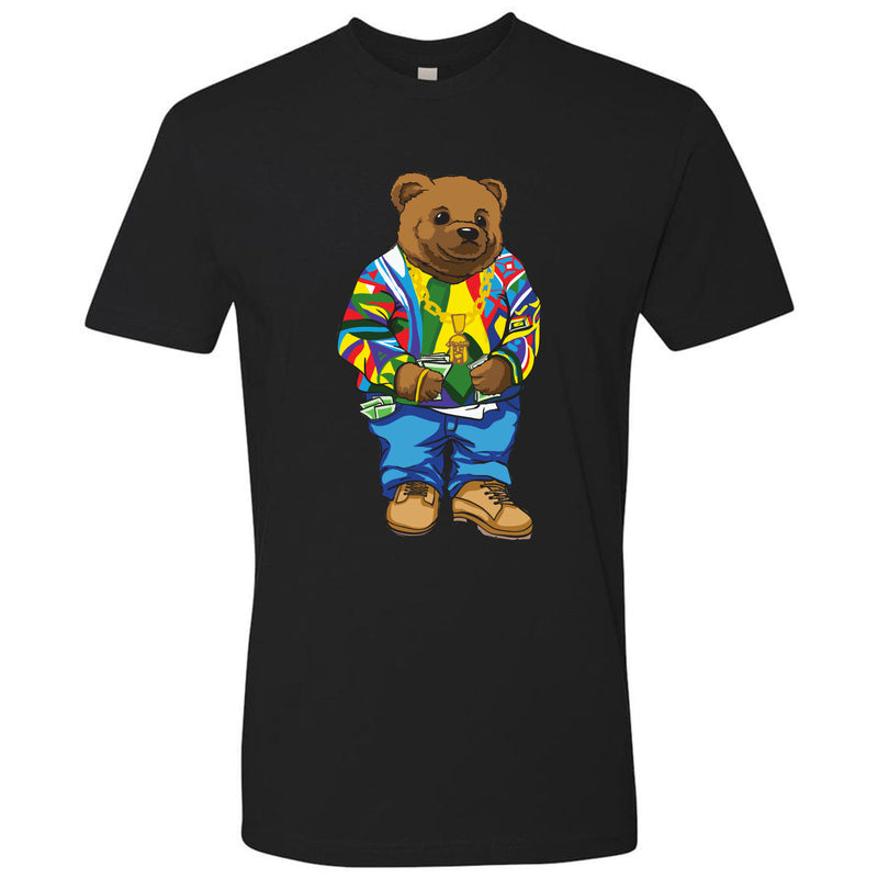 on the front of the sweater bear inspired black t-shirt is a bear wearing a sweater, gold jesus piece, jeans and wheat boots