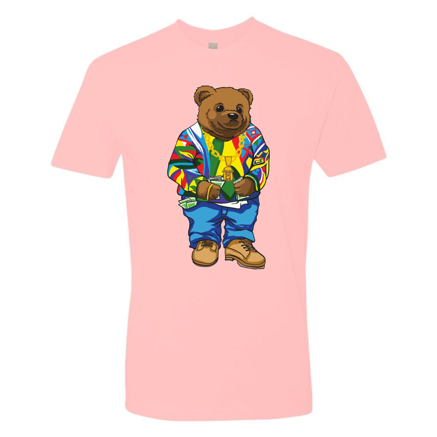 0d581fc5 on the front of the polo bear biggie smalls coogi sweater pink t-shirt is