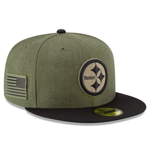 Embroidered on the right side of the 2018 salute to service pittsburgh steelers fitted cap is the usa flag patch in military green and black