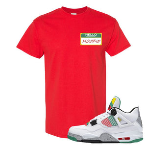 Jordan 4 WMNS Carnival Sneaker Red T Shirt | Tees to match Do The Right Thing 4s | Hello My Name Is Mookie