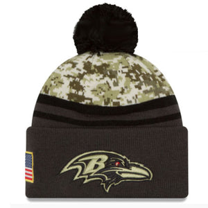 the fleece lined baltimore ravens on field salute to service beanie is gray with camo