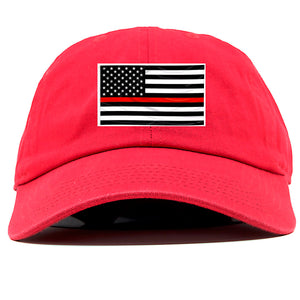 on the front of the red thin line dad hat is a black and white and red flag