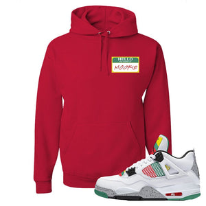 Jordan 4 WMNS Carnival Sneaker True Red Pullover Hoodie | Hoodie to match Do The Right Thing 4s | Hello My Name Is Mookie