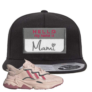 Women Ozweego Icy Pink Snapback Hat | Hello My Name Is Mami, Black