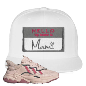 Women Ozweego Icy Pink Snapback Hat | Hello My Name Is Mami, White