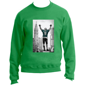 on the front of the Philadelphia Eagles Rocky Nick Foles jersey kelly green crewneck is a black and white photo of the rocky statue in Philadelphia in black and white wearing a Nick Foles jersey
