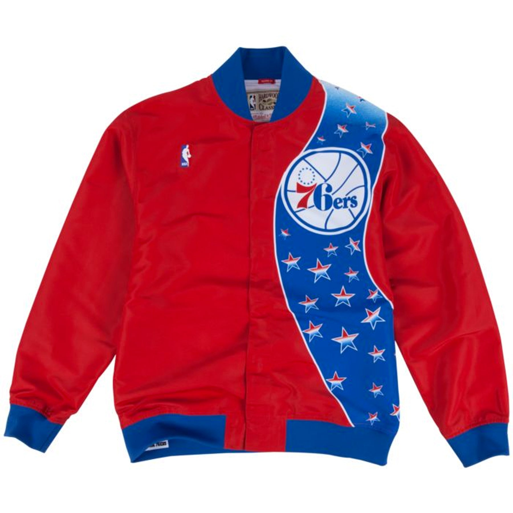 cde77278e00f this philadelphia 76ers red and blue warm up jacket from Mitchell and Ness  is a must