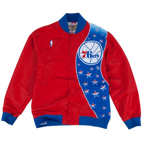 this philadelphia 76ers red and blue warm up jacket from Mitchell and Ness is a must-have item for diehard sixersfans, the front features the 76ers logo and a blue and white star pattern