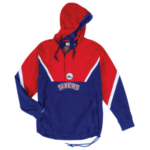 front of  76ers Throwback Anorak Jacket | Philadelphia sixers vintage pull over jacket