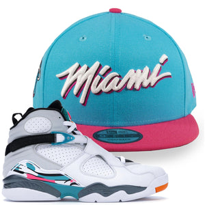 front of South beach jordan 8  Snapback to match | Miami Heat NBA City Series Script south beach sneaker hook up hat