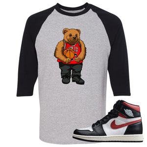 Air Jordan 1 Retro High Gym Red Sneaker Hook Up Polo Bear With Jersey Sports Grey and Black Raglan T-Shirt