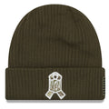 the back of the pittsburgh steelers 2018 salute to service on field winter beanie features the nfl veterans ribbon