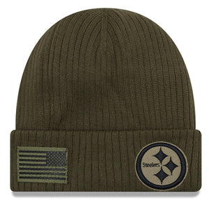 Embroidered on the front of the pittsburgh steelers 2018 salute to service on field winte rbeanie is the steelers logo in military green and dark gray