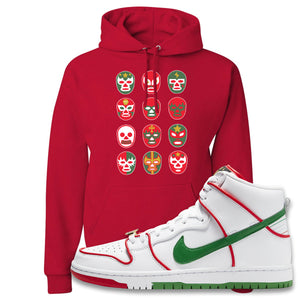 Paul Rodriguez's Nike SB Dunk High Sneaker Red Pullover Hoodie | Hoodie to match Paul Rodriguez's Nike SB Dunk High Shoes | Luchador Masks