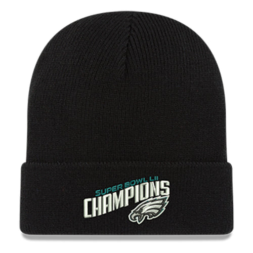 super bowl 52 philadelphia eagles championship beanie has the words super bowl Lii champions and the philadelphia eagles logo embroidered in white, black, silver and midnight green