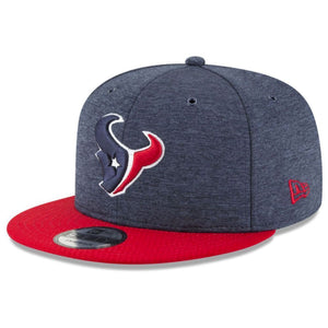 Embroidered on the front of the 2018 on field houston texans snapback hat is the houston texans logo embroidered in navy blue, white, and red