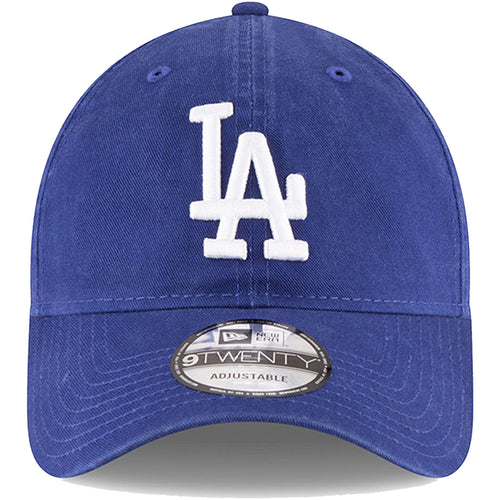 On the front of the Los Angeles Dodgers 2017 World Series dad hat, is the LA dodgers logo embroidered in white