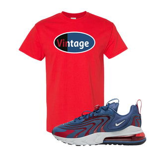 Air Max 270 React ENG Mystic Navy T Shirt | Vintage Oval, Red