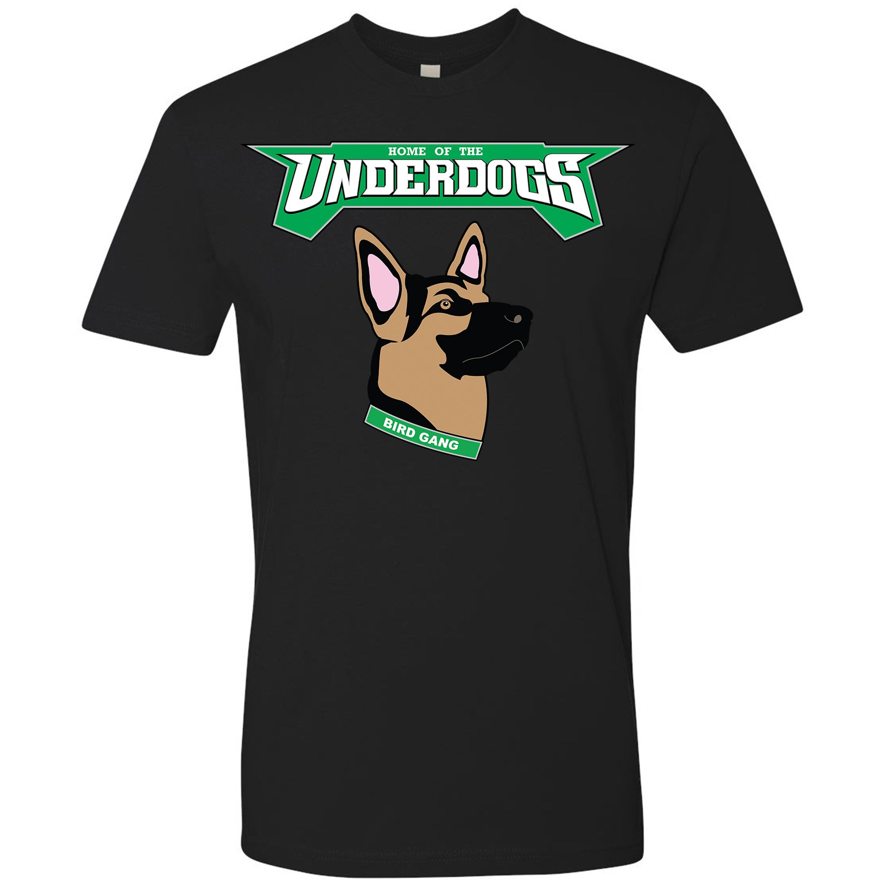 33c768c7b12 on the front of the underdogs eagles t-shirt is the lettering underdogs  printed in