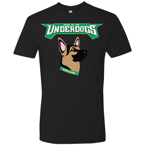 on the front of the underdogs eagles t-shirt is the lettering underdogs printed in kelly green and white above an image of a german shepherd printed in brown, black, pink with a kelly green collar that says bird gang