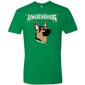 let's go eagles! the philadelphia eagles underdogs t-shirt says the word underdogs printed in white and kelly green above an image of a german shepherd printed in brown, black, pink