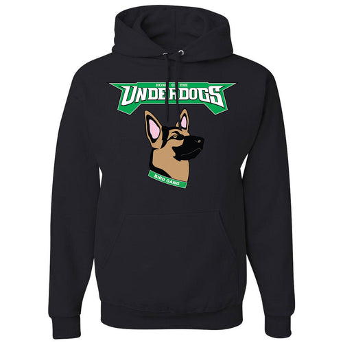 on the front of the pullover underdogs eagles hoodie has the philadelphia eagles under dog german shepherd logo printed in kelly green, white, black and tan