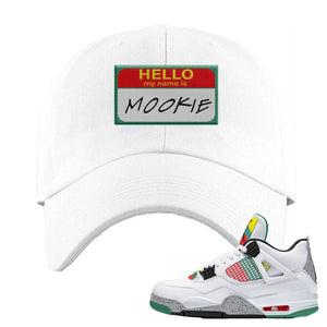 Jordan 4 WMNS Carnival Sneaker White Dad Hat | Hat to match Do The Right Thing 4s | Hello My Name Is Mookie