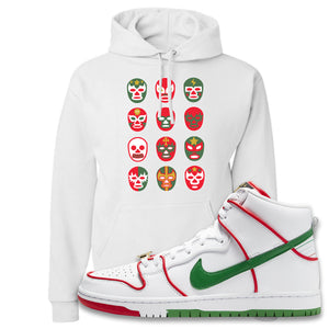 Paul Rodriguez's Nike SB Dunk High Sneaker White Pullover Hoodie | Hoodie to match Paul Rodriguez's Nike SB Dunk High Shoes | Luchador Masks