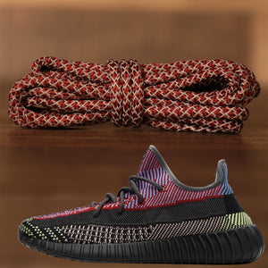 Match your Yeezy 350 V2 Yecheil sneakers with these maroon reflective yeezy matching rope sneaker laces