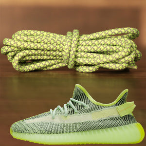 Match your pair of Yeezy 350 V2 Yeezreel sneakers with these yeezy matching reflective rope sneaker shoe laces