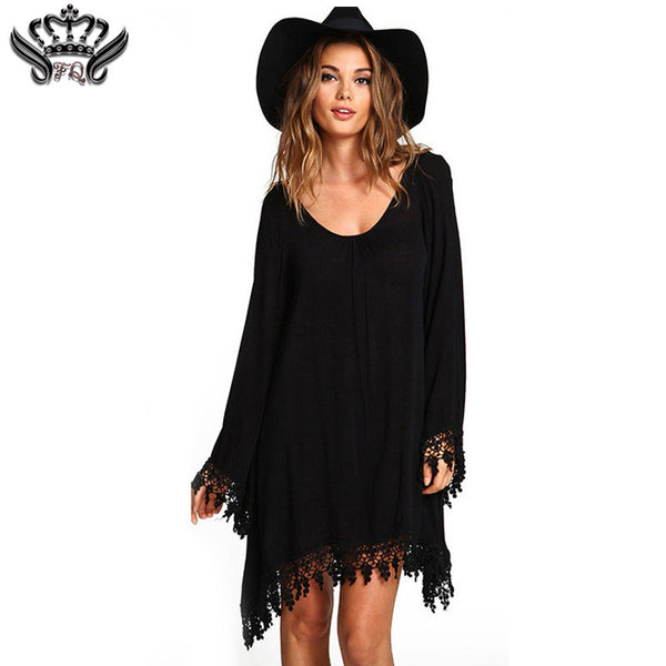 2016 Summer Women Boho Tassel Dress Short Vestido Sexy Lace Crochet Chiffon Tunic Hollow Black Beach Shirt Dress Blusa Hot Sale