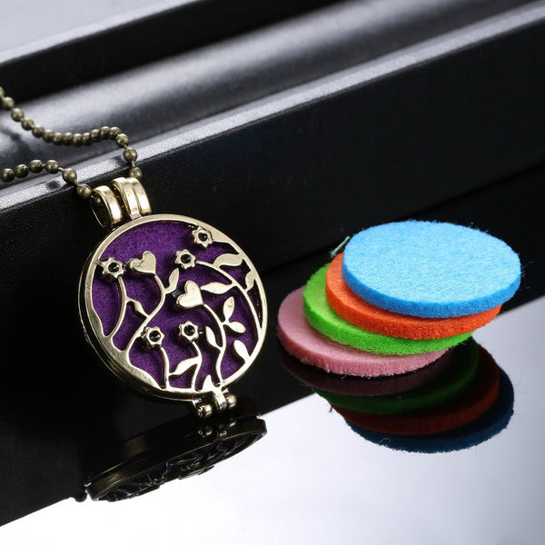 (Necklace+5Pad)/set Fashion Flower Locket Necklace Women Perfume Fragrance Essential Oil Aromatherapy Diffuser Pendant Necklace