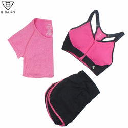 B.BANG 2016 Women Sport Yoga Set for Running Gym Sportswear Suit for Female Elastic Waist Yoga Suits Fitness Workout Clothing