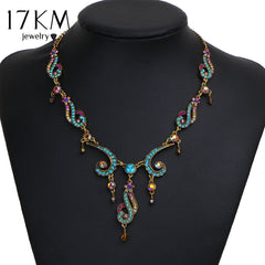 17KM New Vintage Colorful Crystal Tassel Flower Statement Necklace for Women Gold Color Pendant Collar Maxi Ethnic Jewelry