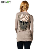 Skull Hollow Out Women Sweaters Knitted Long Sleeve Cardigans Spring Summer Thin Cardigans Sexy