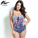 2016 summer style Womens Plus Size One Piece Swimsuit Swimwear Padded Monokini women Bathing Suits Large Bust Swimsuits