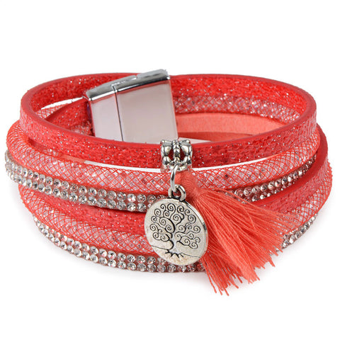 Rhinestone Feather Wide Multilayer Leather Bracelet Magnetic Tassel Bracelet Women Wrap Charm Boho Bohemian Bracelets Bangle Men - Bohemian Gift Stores